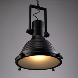 Modern Black Iron Round Shape Chain Decorative Pendant Light