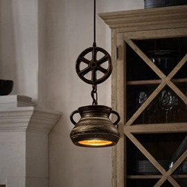 Amazing Iron Frame Wheel and Teapot Shape Pendant Light