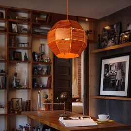 Orange Decorative Iron Frame Ball Shape Pendant Light