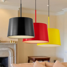 Red/Black/Yellow Round Metal Cover 1 Glass Bulb Pendant Light
