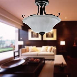 Amazing Glass Shade 3 Lights Flush Mount