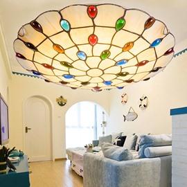 Stunning Peacock Tail Design Tiffany Bedroom Living Room Flush Mount