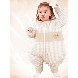 Thicken Grid Pattern Snap Closure Bottom Natural Colored Cotton Baby Sleeping Bag