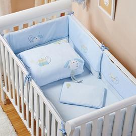 High Quality Baby Blue Rabbit Pattern Crib bedding Set