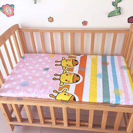Three Giraffe Print and Stripes Pattern Baby Crib Fitted Sheet