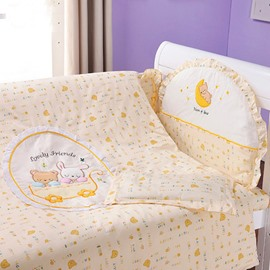 Golden Dreamland Cute Bear Print 10-Piece Crib Bedding Sets