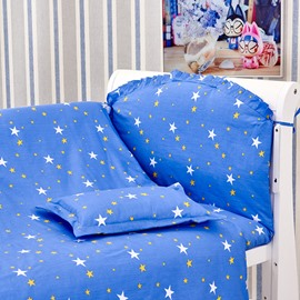 Dreamy Blue Stars Pattern 10-Piece Crib Bedding Sets