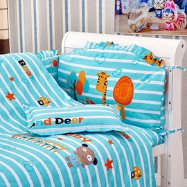 Animal Family Stripes Pattern 10-Piece Crib Bedding Sets