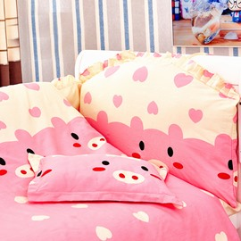 Adorable Pink Piggy Pattern 10-Piece Crib Bedding Sets