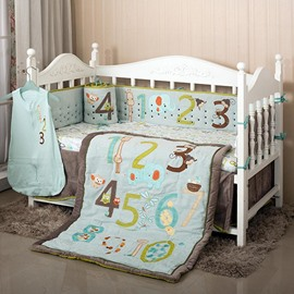 Lovely Animals and Numbers Pattern 8-Piece Crib Bedding Sets