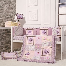 Romantic Purple Butterflies 8-Piece Cotton Baby Crib Bedding Set
