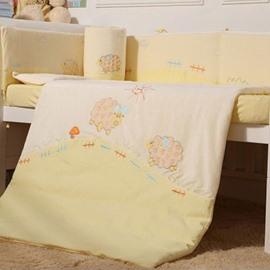 Super Lovely Sheep Farm Theme 7-Piece Cotton Baby Crib Bedding Set
