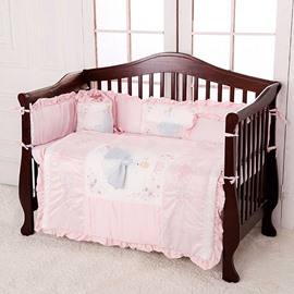 Light Pink Beautiful Princess Theme 7-Piece Cotton Baby Crib Bedding Set