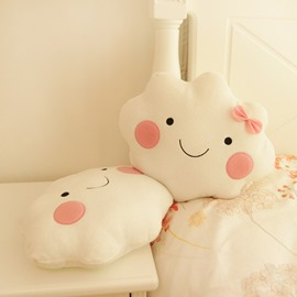 Lovely 2-piece White Clouds with Pink Face PP Cotton Throw Pillows
