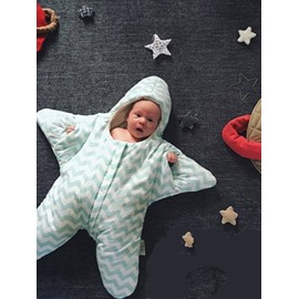 Lovely Little Star Shape Green Stripe Cotton Baby Sleeping Bag