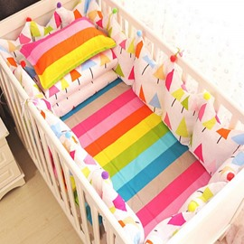 Colorful Rainbow Tree Pattern 9-Piece Cotton Baby Crib Bedding Set