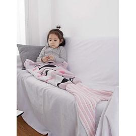 Pretty Penguin Pattern Pink Baby Mermaid Blanket