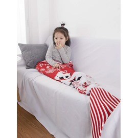 Lovely Santa Claus Pattern Knit Baby Mermaid Blanket