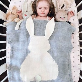 White Rabbit Pattern Cotton Knit Gray Baby Blanket