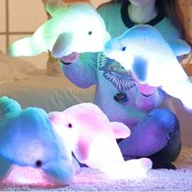 Luminous Dolphin Shaped Plush Pure Color Baby Throw Pillow