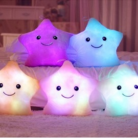 Luminous Star Shaped Plush Pure Color Baby Throw Pillow