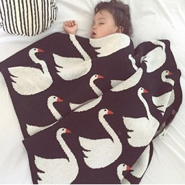 White Swan Pattern Wool Black Baby Blanket