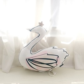 Swan Shape Plush White Baby Throw Pillow