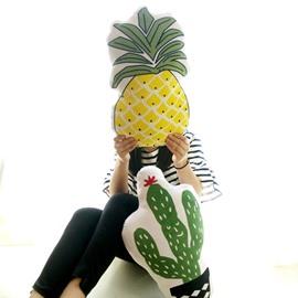 Pineapple and Cactus Shape Plush White Baby Throw Pillow