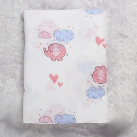 Pink Elephants Printed Bamboo Fiber 2-Layer White Baby Swaddle Blanket
