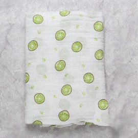 Kiwi Fruits Printed Bamboo Fiber 2-Layer White Baby Swaddle Blanket