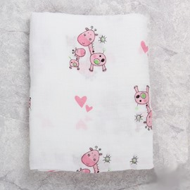 Deers Printed Bamboo Fiber 2-Layer White Baby Swaddle Blanket