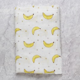 Bananas Printed Bamboo Fiber 2-Layer White Baby Swaddle Blanket