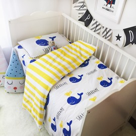 Dolphins and Stripes Printed 3-Piece Crib Bedding Sets