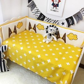 White Crosses Printed Cotton Classic Style Yellow Crib Sheet