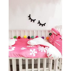 Rabbit Shape Coral Velvet 3-Piece Pink Baby Sleeping Bag