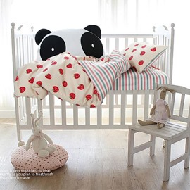 Strawberries and Stripes Printed Cotton White 3-Piece Crib Bedding Sets
