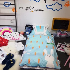 Rabbit Printed Cotton Cute Style 3-Piece Blue Baby Sleeping Bag