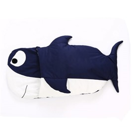 Blue Shark Shape Cotton 1-Piece Baby Sleeping Bag
