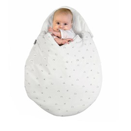 Egg Shape Notes Printed Cotton 1-Piece White Baby Sleeping Bag