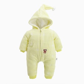 Cotton and Velvet Simple Style Yellow Baby Sleeping Bag/Jumpsuit