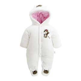 Bear Printed Flannel Simple Style Baby Sleeping Bag/Jumpsuit