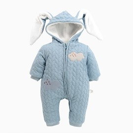 Rabbit Shape Cotton and Velvet Simple Style Light Blue Baby Sleeping Bag/Jumpsuit