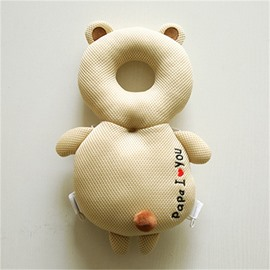 Bear Shape Buckle Polyester and PP Cotton 1-Piece Beige Toddlers Pillow