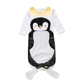 Fishtail Decoration Penguin Printed Cotton 1-Piece White Baby Sleeping Bag