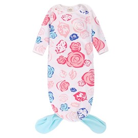 Fishtail Decoration Roses Printed Cotton 1-Piece White Baby Sleeping Bag