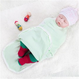 Zipper Cotton 1-Piece Light Green Baby Sleeping Bag