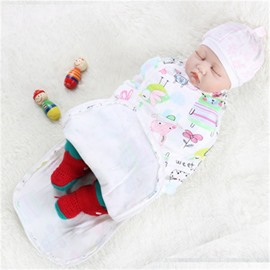 Zipper Cartoons Printed Cotton 1-Piece White Baby Sleeping Bag