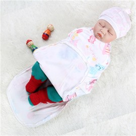 Zipper Cats Printed Cotton 1-Piece White Baby Sleeping Bag