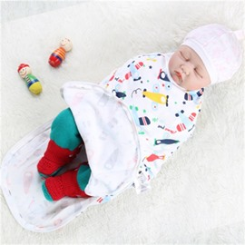 Zipper Planes Printed Cotton 1-Piece White Baby Sleeping Bag