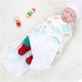 Zipper Lions and Plants Printed Cotton 1-Piece White Baby Sleeping Bag